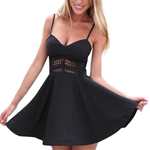 2d4c385b66c LeeY Damen Sexy Ärmellos Spitze V-Ausschnitt Ausgehöhlt Aus Kleid Sexy  Einfarbig Kurzarm Minikleid Beiläufig
