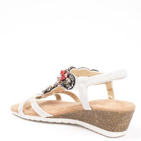 Ideal Shoes - Sandales compensées avec strass incrusté Shana Blanc