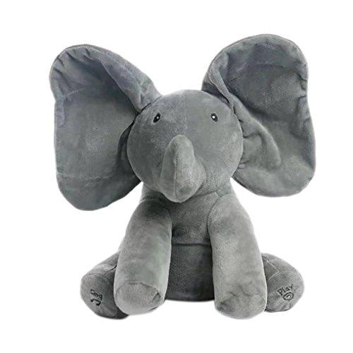 Happy Event Elefant Baby Soft Plüschtier Singen Angefüllte Animierte Tier Kid Puppe Geschenk (Grau)