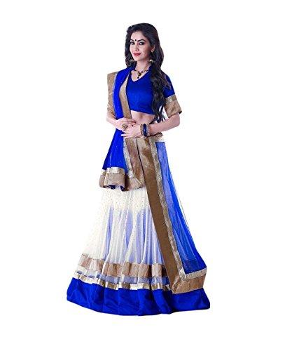Lehenga choli ( Hare Krishna Shop blue and white color designer lehenga with free size )