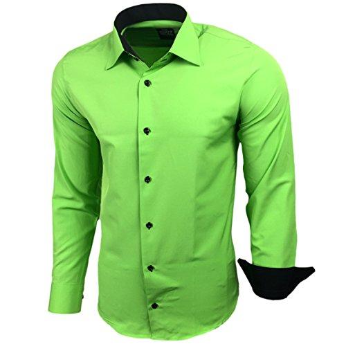 Kontrast Business Anzug Freizeit Polo Slim Fit Figurbetont Hemd Langarmhemd R-44, Farbe:Grün;Größe:XL (Farbe Kontrast Baumwolle)
