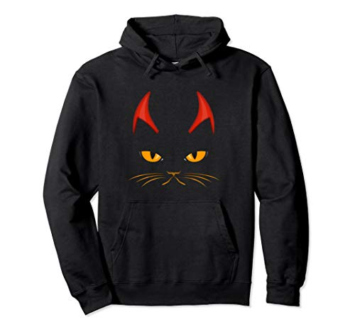 Metal Kostüm Black - Rockende Katze Teufelshörner Kostüm für Rock Metal Music Fan Pullover Hoodie