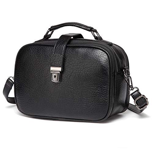 Kasgo Umhängetasche Damen, Mode PU Leder Crossbody Bag Schultertasche Klein Handtasche für Frauen mit Abnehmbarem Verstellbarem Riemen Schwarz -