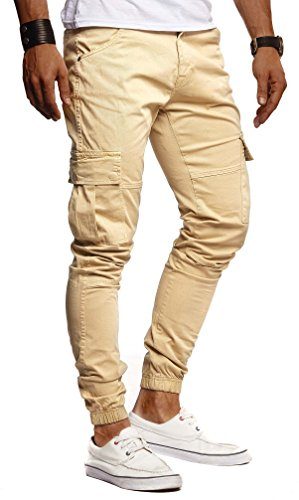 LEIF NELSON Herren Hose Jeans Stretch Jeanshose Chino Cargo Chinohose Jogger Freizeithose Stretch Slim Fit LN9285; W32L32, Camel/Beige -