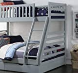 Heavenlybeds @ Wooden Triple Sleeper Bunk Bed Frame Grey Wood with Two Drawers 4'6 Double and 3ft Single
