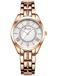 Alienwork Reloj Mujer Relojes Acero Inoxidable Oro Rosa Analógicos Cuarzo Plata Impermeable nácar Strass Ultra-