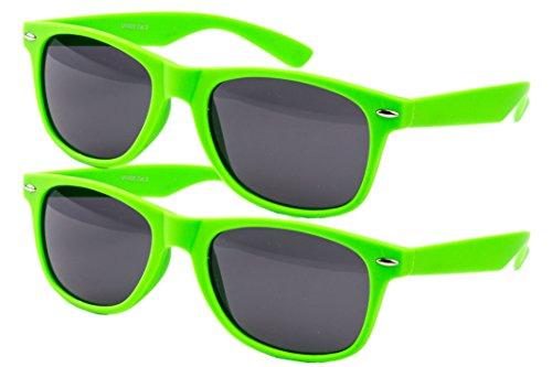 2 er Set EL-Sunprotect Sonnenbrille Nerdbrille Brille Nerd Matt Gummiert Neon Grün