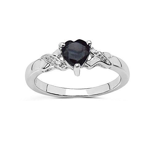 La Collezione Anello Diamanti: Zaffiro forma cuore 6x 6mm Anello di Fidanzamento Diamante sulle spalle d'argento, regalo perfecto, anniversario Misura anello 17,5