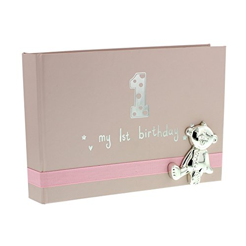 Baby Girl First Birthday Photo Album With Teddy Icon 6x4 Gift New by ukgiftstoreonline