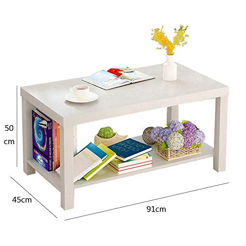 YueQiSong Modern Minimalist Living Room Sofa Side Table Small Coffee Table Living Room Dining Room Small Table, White, 91 * 50 * 45cm
