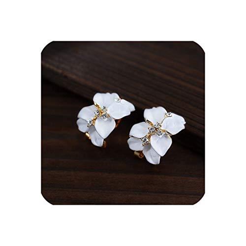 Schmuck Elegantes Doppel Gardenias Blume Strass Farbe Ohrstecker für Frauen Pendientes, Weiss - Elegante Gardenia