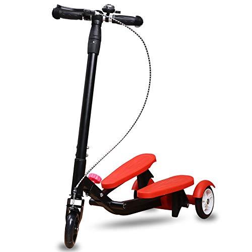 CHHMAELOVE HöHenverstellbarer Kinder Scooter, Mini Kinderscooter Kinderroller,Kinderscooter Laufrad,Gleiten Sie Auf Und Ab,Red