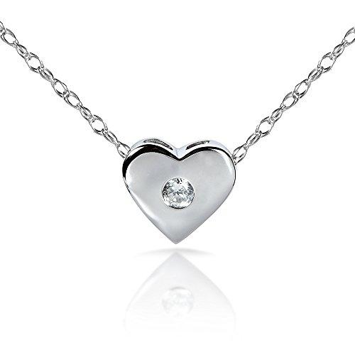 Diamond Bisel Colgante de Corazón en platino (18