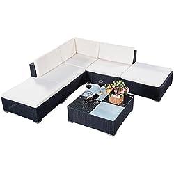 Aluminio conjunto muebles de jardín de ratán Mesa con vidrio+Sofás +cojínes