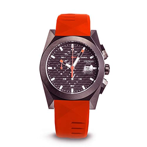 Locman Men's Watch Chronograph Stealth Case Steel and Titanium IP Black Silicone Strap Red