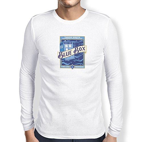 TEXLAB - Blue Box White Ale - Herren Langarm T-Shirt Weiß