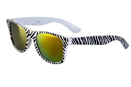 Ciffre Nerdbrille Sonnenbrille Nerd Atzen Brille Zebra Schwarz Weiß Feuer Verspiegelt