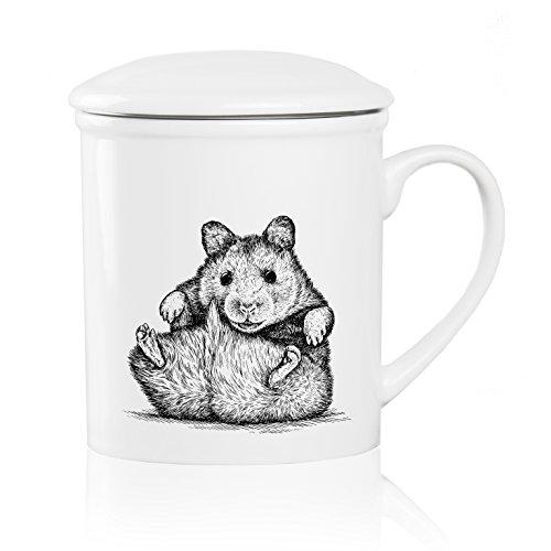 We Love Home - Tasse à thé en porcelaine avec infuseur en acier inoxydable + couvercle 25 cl. style scandinave design Mouse