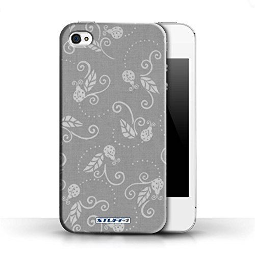 iCHOOSE Hülle / Hülle für Apple iPhone 5C / harter Plastikfall für Telefon / Collection Marienkäfer-Muster / Grau Grau