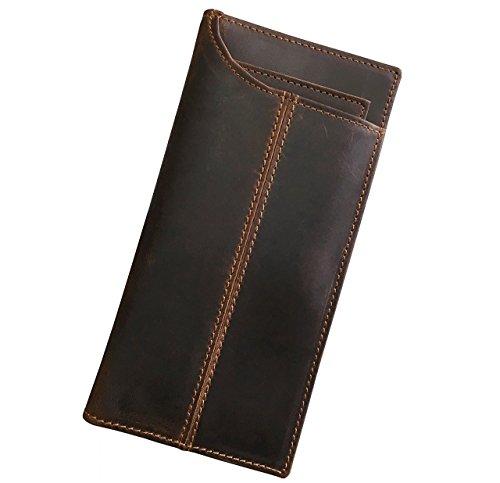 - Grain-leder-geld-clip Brieftasche (Echtes Leder Lange Brieftasche mit Reißverschluss Tasche Vintage Bifold Scheckheft Geldbörse (Brown 4))