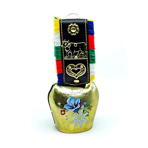 TopSpirit Kuhglocke - Glocke aus Kupfer mit Edelweiss, Alpenblumen, Kuh und mit weitere Motiven - Kuh Glocke Switzerland 13 cm -