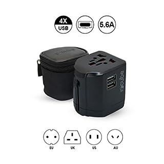 Worldwide Travel Adapter, iBoxCube® New International Plug [US UK EU AU] with Dual USB Charging Ports [Dual USB Power Rating: 5V/2500mA] & Universal AC Socket, Spare Safety Fused (Matte Black)