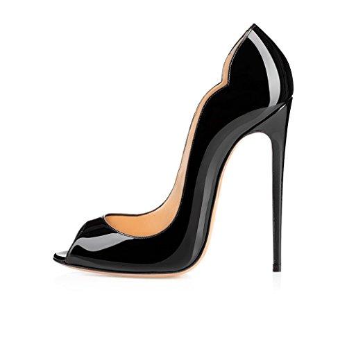 elashe Damenschuhe - Bequeme High Heels 12cm - Peeptoe Stiletto Schwarz EU41