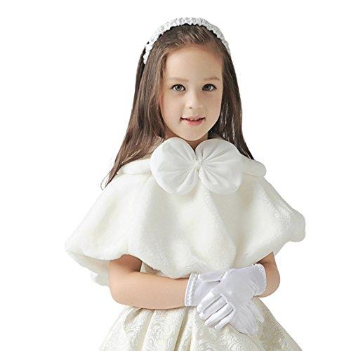 YYF Mädchen Kinder Kunstpelz Hochzeit Stola-Schal Wrap Brautkleid Warm Winter Umhang