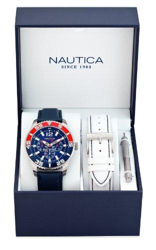 Nautica - Orologio da polso con cinturino intercambiabile, analogico al quarzo, pelle