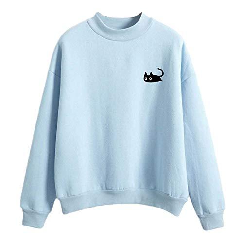 MIRRAY Damen Langarm O-Ansatz Beiläufige Katze Gedruckt Sweatshirt Pullover Top Bluse
