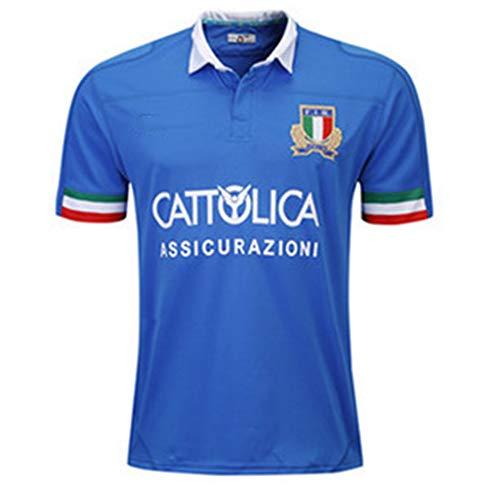 Okeak Italien Rugby-Trikot Männer Rugby-T-Shirts Fan-Bekleidung Heimtrikot Fan-Bekleidung Training Kurzarm Atmungsaktives Polo-Shirt,B,XXL