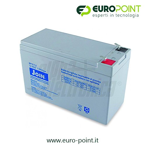 JOIN Batteria Ermetica Ricaricabile al Piombo 12V Volt 7Ah
