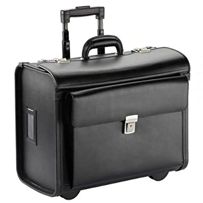 Dermata pilot suitcase trolley leather laptop comp. 18,11 inch, black