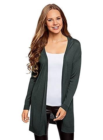 oodji Ultra Femme Cardigan en Tricot sans Fermeture, Vert, FR 40 / M