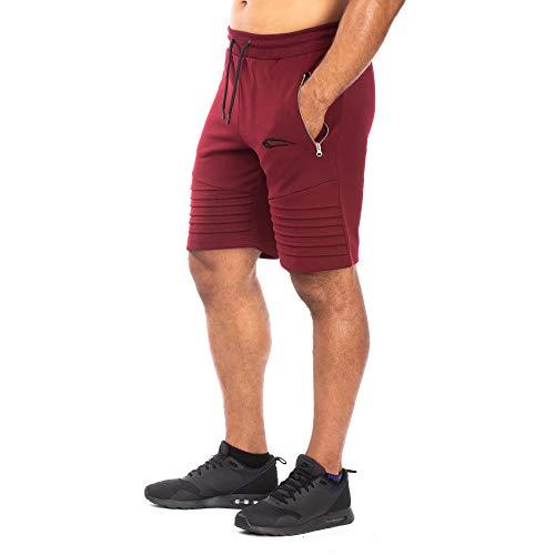 SMILODOX Herren Shorts Ripplez Kurze Hosen für Sport Gym Training & Freizeit | Sporthose - Freizeithose - Trainingshose - Sweatpants Jogger - Jogginghose Kurz, Größe:L, Farbe:Bordeaux