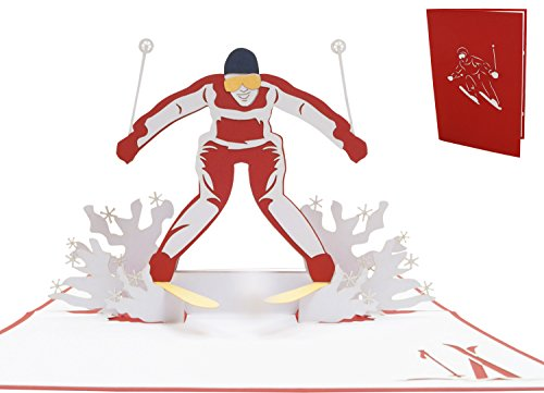 LIN - POP - UP Karten Sport, POP UP Karten Geburtstag, 3D Grußkarten Klappkarten Geburtstagskarte Gutschein für Skifahrer Ski, N270 (- Form-schnee-ski)