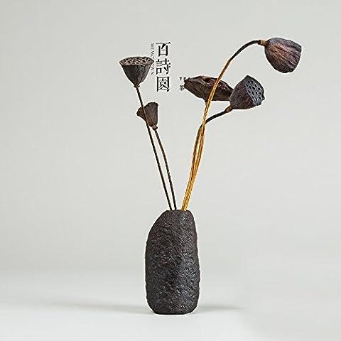 Vasijas de cerámica gruesa retro-manual zen cerámica floreros té cerámica adornos boutonniere 1