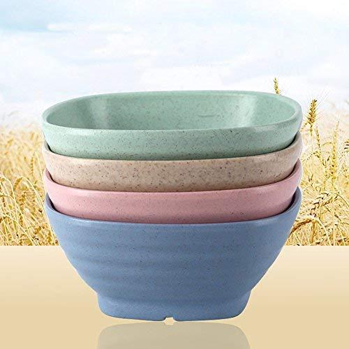 golandstar Umweltfreundlich Gesundes Weizen Stroh Kunststoff Schale für Reis, Suppe, Popcorn, Obst, Salat, Müsli Dinner Party Schüssel Beige, Blue, Green, Pink