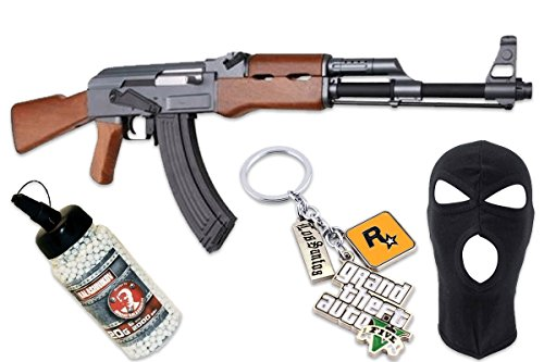 CyberGun Pack AK47-GTA-Airsoft spring Gun 6mm with accessories- 0 5 Joule  -Color black/brown