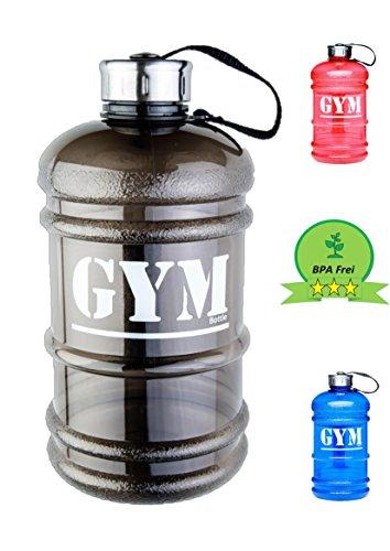Water Jug / Fitnessflasche 2,2 Liter Gym-Bottle / hochwertige und robuste Trink-Flasche / Wasser-Gallone / XXL-Flasche / Wasser-Flasche für jede Sportart und für den Alltag / perfekt für die tägliche Flüssigkeitszufuhr / mit Milliliter-Skala / BPA & DEHP frei (Schwarz)