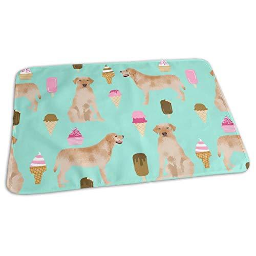 Ice Cream Dog Breed Labrador Retriever Blue Baby Portable Reusable Changing Pad Mat 19.7x27.5 inch -