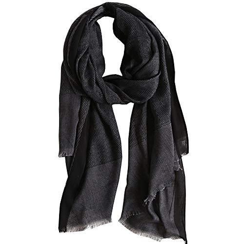 Schals Herren Damen Winter, Baumwollschals-bequeme Warm bleiben lange Schals 78.7 '' * 31.5 '' Schwarz und Grau