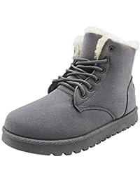 uirend Bottes de Neige Femmes - Classique Hiver Chaussures Bottes et  Bottines Confortable Bottes de Moto à Lacets Bottes de Combat… 07a1c8340728