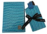 Leather Passport Holder & 2 Luggage Tags Gift Set, BLUE leather with 'croc' finish, Beverly Hills Polo Club