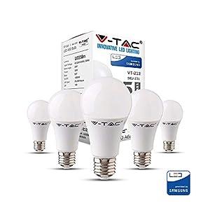 LED Lampe mit Samsung LED | E27 5er PACK | LED A58 Birnen | 11 Watt 1055 Lumen | Leuchtmittel ersetzt Glühbirne 75 Watt | Warmweiß 3000K | Abstrahlwinkel 200° | Nicht Dimmbar | 5 Jahre Garantie
