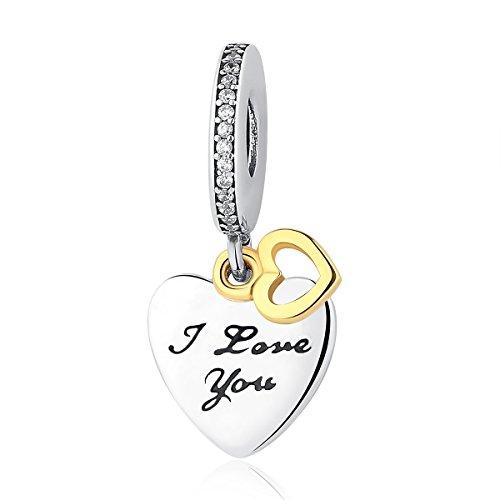 """Charm in argento sterling 925, pendente, con scritta """"i love you"""", per braccialetti con charm pandora e altri braccialetti con charm"""