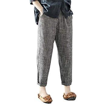POTTOA Pantalon Femme, Pantalon Femme en Coton Et Lin Pantalon Grande Taille Casual Pantalon Large à La Cheville Legging Mince-Pantalon Fluide Femme,Legging Femme Taille Haute Slim,Camouflage,Dechiré