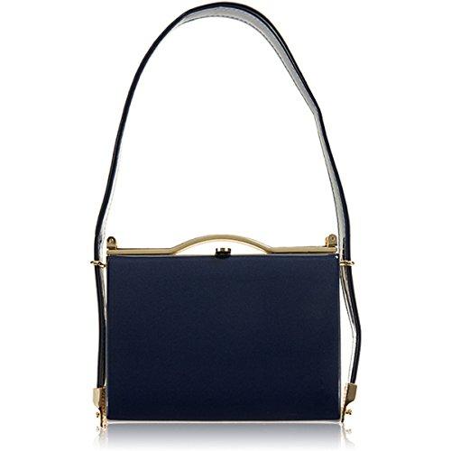 xardi London Nuovo brevetto medio donne sacchetti di sera Prom–Sella tracolla frizione borse Shimmer Royal Blue