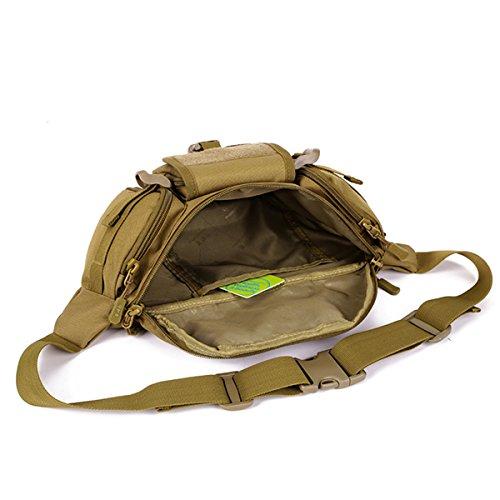 GES Tactical MOLLE Taille Pack Multi Functional Military Fanny Pack wasserdicht Single Schulter Hüftgurt Tasche für Wandern Klettern Outdoor Sport Braun