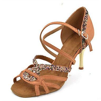 Chaussures De Danse-personnalisable-womens-latin-american Dancing Jazz Salsa Chaussures De Bal-a Stiletto-satin Shiny-black Purple Kaki Noir